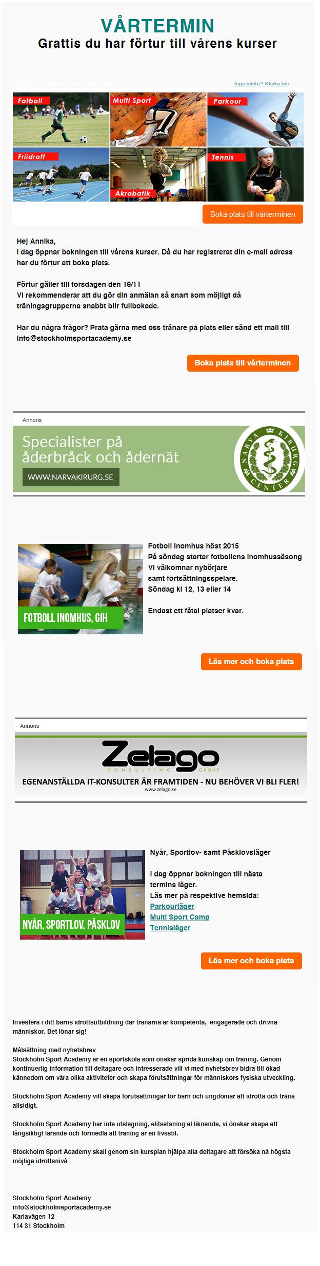 Nyhetsbrev Stockholm Sport Academy